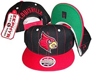 Louisville Cardinals Pinstripe Black Red Two Tone Snapback Adjustable Plastic Snap... by Zephyr