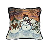 Snowman Christmas Holiday Tapestry Toss Pillow