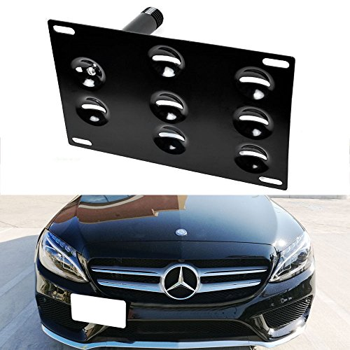 iJDMTOY Front Bumper Tow Hole Adapter License Plate Mounting Bracket For Mercedes W205 C-Class X204 GLK-Class, X205 GLC-Class (Mercedes Front License Bracket compare prices)