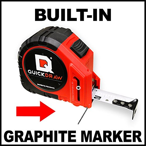 NEW QUICKDRAW PRO Self Marking 25′ Foot Tape Measure – 1st Measuring Tape with a Built in Pencil – Contractor Grade Steel Tape – Power Locking Tape Ruler