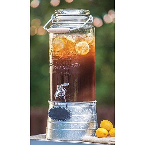 FarmStand 2.5 Gallon Glass Beverage Dispenser with Galvanized Steel Frame Vintage (2 Gallon Beverage Dispenser Stand compare prices)