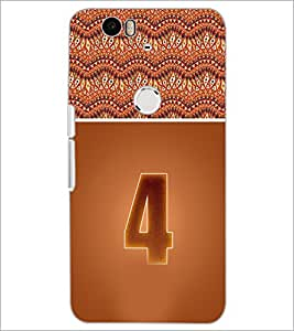 PrintDhaba Numerology Number 4 D-3636 Back Case Cover for HUAWEI NEXUS 6P (Multi-Coloured)