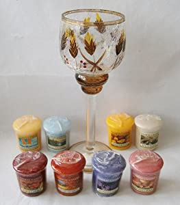 Fall Gift Set: Wheat Crackle Glass Holder Plus 8 Votives by Yankee Candle