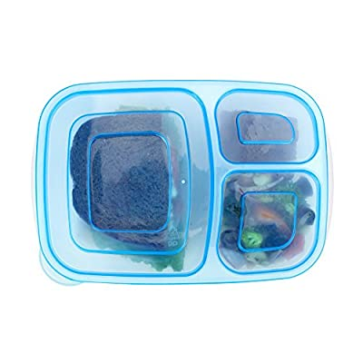 Meal Prep Six Pack Divided Containers Bento Lunch Box for Portion Control Leak Proof Lunch Container Great for Children & Adults 3 Compartments