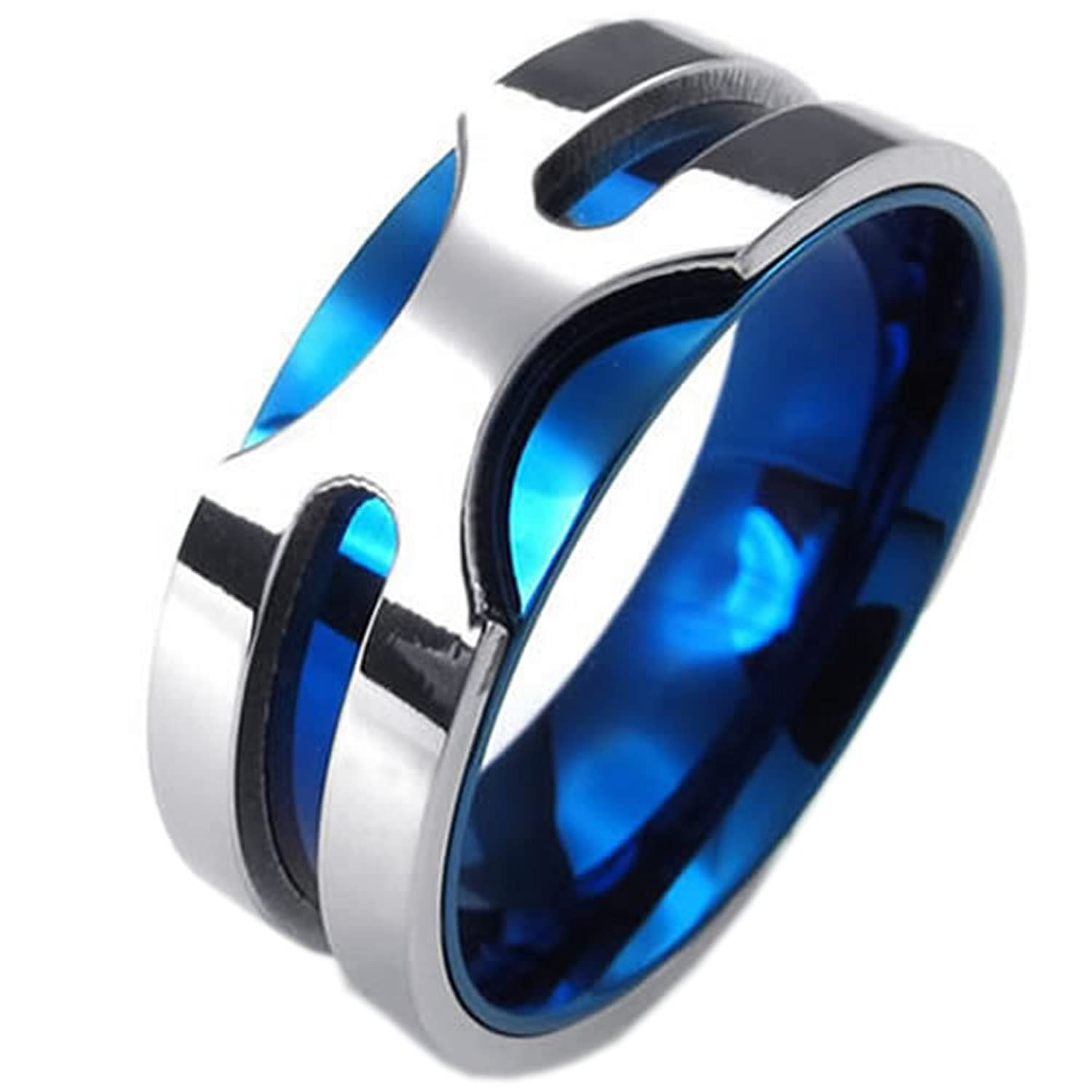 KONOV Mens Stainless Steel Ring, 8mm Classic Band, Blue Silver