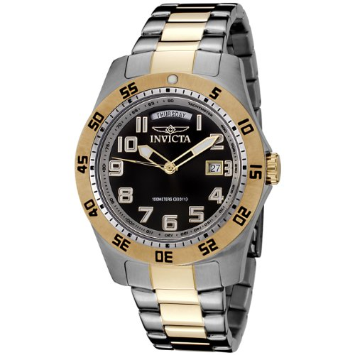 Invicta Men's 6692 II Collection 18k Gold-Plated and Stainless Steel Black Dial Watch