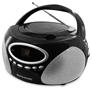 Magnasonic MAG-MA173K Portable Stereo CD Player Boombox with LED Display, AM/FM Radio & 3.5mm MP3 Auxiliary Input Jack