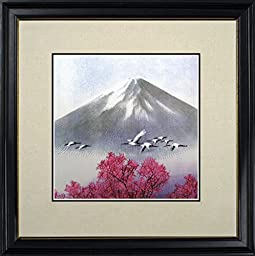 King Silk Art 100% Handmade Japanese Cranes Under Mount Fuji Chinese Embroidery Print Landscape Painting Asian Wall Art D¨¦cor Artwork Hanging Picture Gallery 37048WFB3