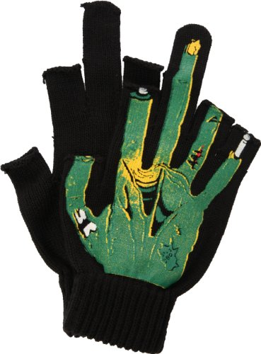 Monster Middle Finger Black Fingerless Gloves