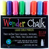 Chalk Markers by Wonder Chalk - Liquid Chalk Paint Pens in 8 Bright Colors, Wet Erase, Odor Free, Non-Toxic Water-based Ink, 6mm Chisel Tip for Fine or Thick Lines on Chalkboards & Non-porous Surfaces