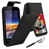 Case In Your Face® Vodafone Smart 4 Mini Premium PU Leather Wallet Bookcase Flip Case Cover Pouch - Various Colours (Black Flip)