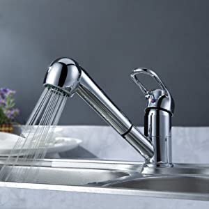 Ouku Deck Mount Solid Brass Kitchen Sink Faucet With Pull Out Sprayer Chrome Finish Unique