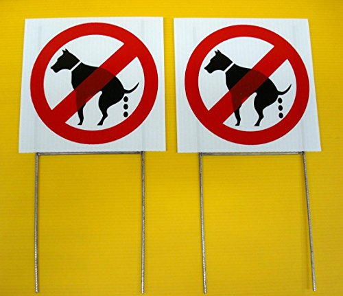 """2 Pcs Monumental Modern No Dog Poop Warning Signs Reflective Plastic Lawn Size 8"""" x 8"""" with Stakes"""