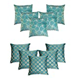 HOMEC Trendy Cushion Cover Combo - Set of 5+5 in Blue (40X40 CM)