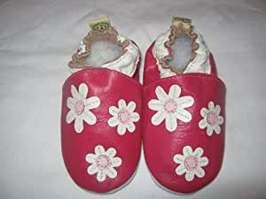 Chaussons Bébé en cuir doux - Petites fleures Rose - 6/12 mois