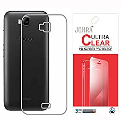 Johra Transparent Soft Back Case Cover With Screen Guard for Huawei Honor Bee