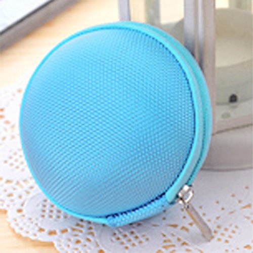 Huayang Round Canvas Coin Purse Wallet Case Caddy Box For Key Coins Mp3 Earphone Cable(Light Blue)
