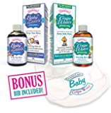 Bundle Gripe Water & Baby ZZZ's by Gentle Care - Finally the Ultimate Combo! - Help Your Baby Sleep & Relieve Gas, Colic, Discomfort, Upset Stomach Gas Fussy Sleepless Hiccups or Teething so Mommies & Babies Get Sleep - All Natural Herbal Safe & Paraben Free Remedy & Free Bib Included - Introductory Price