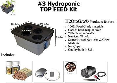 """H2OtoGro® SELF-WATERING Hydroponic Bubbler - # 3 16""""x10"""", 4 Site"""