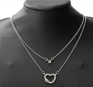 ITS Silver Double Layers Rhinestone Heart Pendant Chain Necklace by ITS