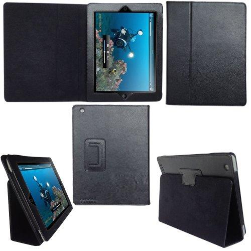 TeckNet iPad 2 Housse en cuir pour Apple iPad 2, avec rabat/stand de positionnement, support et le sort de veille - Noir