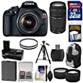 Canon EOS Rebel T5 Digital SLR Camera & EF-S 18-55mm IS & 75-300mm III Lens with 32GB Card + Battery + Grip + Backpack + Tripod + Filters + Tele/Wide Lens Kit
