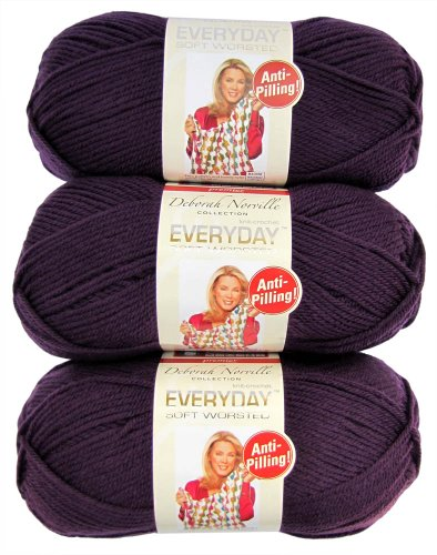 Premier Yarns 3-Pack Solid Deborah Norville Everyday Soft Worsted, Aubergine