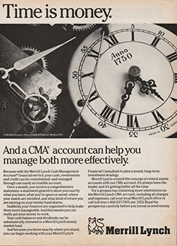 print-ad-1987-merrill-lynch-cash-management-account-time-is-money-vintage-non-color-ad-usa-nice-orig