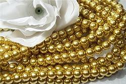 Glass Pearls Czech 8mm Round Gold Q.100