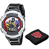 Hasbro Kids' TF4007T Transformers Digital Display Quartz Black Watch with Wristband Gift Set