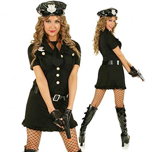 Damen Kostüm Cop Polizistin Schwarz Polizeikostüm Gr. S/M 36-38