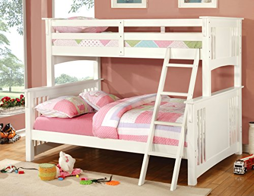 Furniture of America Concord Bunk Bed, Twin/Full, White (Furniture Bunk Bed Parts compare prices)