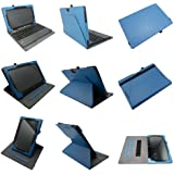 Coodio® Asus Transformer Book T100TA Tablet Keyboard Portfolio 360 Rotating Stand Leather Cover Built-in Hand Grip and Magnetic Closure (Blue)