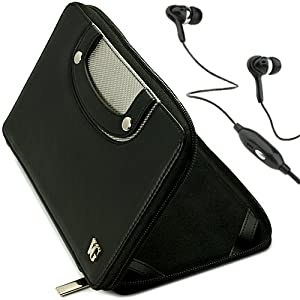 Black VG Executive Leatherette Premium Book Style Protective Folio Case with PU Leather Carrying Handles for Coby Kryos MID7065 / MID7016 / MID7024 / MID7042 / MID7048 Android 7-inch Tablets + Black Handsfree Hifi Noise Isolating Stereo Headphones with Wi