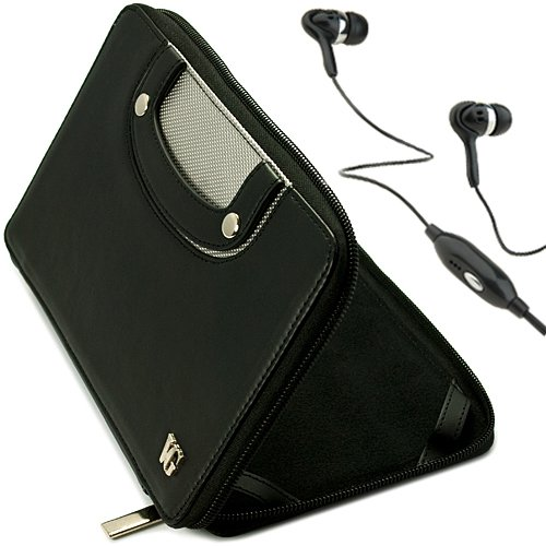 Black Vg Executive Leatherette Premium Book Style Protective Folio Case With Pu Leather Carrying Handles For Double Power D7015 / Md-740 / Md-702 / T-711 / T708 7-Inch Android Tablets + Black Handsfree Hifi Noise Isolating Stereo Headphones With Windscree