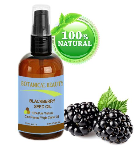 "Blackberry Seed Oil 100% Pure / Natural / Virgin/ Unrefined. Cold Pressed / Undiluted Carrier Oil. 4 Fl.Oz -120 Ml. """"One Of The Richest Natural Sources Of Vitamin C And A Remarkable And Stable Source Of Omega 3 And 6, Vitamins E And Minerals. Strong Anti"