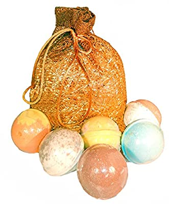 Bath Bombs Gift Set- Born in the USA - 6 Lush, Moisturizing Aromatherapy Stress Relief Bath Bombs- Organic & Natural Essential Oils & Saturated in Shea Butter & Coconut Oil.Great Gift Basket Ideas