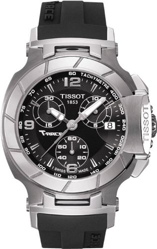 TISSOT T-RACE T048.217.17.057.00 LADIES BLACK RUBBER STAINLESS STEEL CASE WATCH