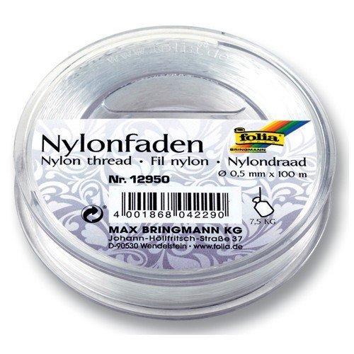 Folia Nylonfaden auf Spule, transparent, 0,50mmx100m, Tragkraft 7,5kg von Folia