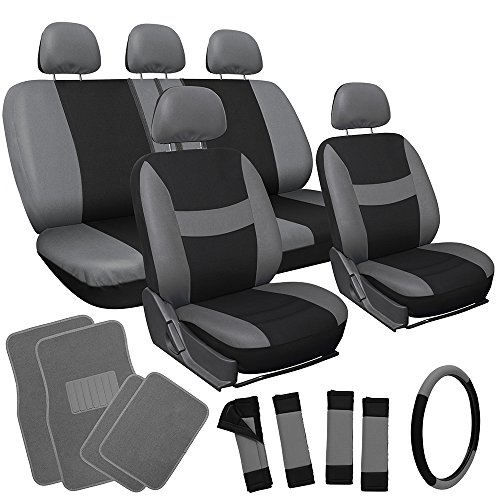 OxGord 21pc Black & Gray Flat Cloth Seat Cover and Carpet Floor Mat Set for the Honda Accord Coupe, Airbag Compatible, Split Bench, Steering Wheel Cover Included (Honda Accord Coupe 2000 compare prices)