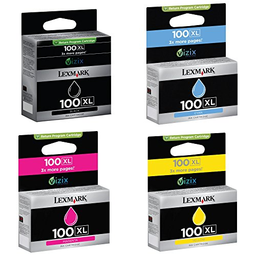 Lexmark 100XL Bundle of Black Cyan, Magenta, Yellow Genuine Inkjet Cartridges