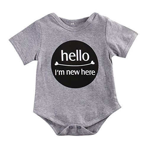 Newborn Baby Boy Girl Short Sleeve Letters Print Romper Jumper Bodysuit (3-9 Months)