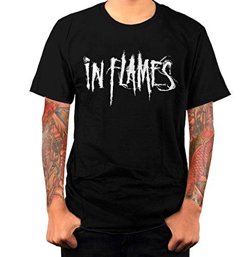 T-shirt Uomo - In Flames maglietta con stampa rock 100% cotonee LaMAGLIERIA,M, Nero