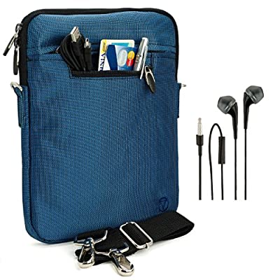 """VanGoddy Hydei Sleeve Modern Padded Bag Pack Cover w/ Shoulder Strap fits Amazon Kindle Fire HDX / HD 8.9"""" Smart Prime Tablet ROYAL NAVY BLUE + Black Hands-free Earphones (Headphones with Microphone)"""