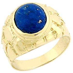 10k Solid Yellow Gold Oval Lapis Nugget Mens Ring