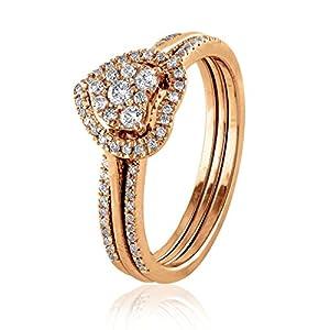 0.33 CT. Natural Diamond Bridal Collection 18K Rose Gold Engagement Ring Set With Matching Wedding Band