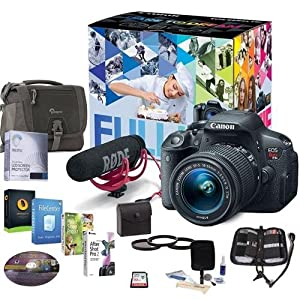 Canon T5i Video Creator Kit w/EF-S 18-55mm f/3.5-5.6 IS STM Lens, Rode VIDEOMIC and 32GB SDHC - Bundle w/Camera Bag, 58mm Filter Kit, Cleaning Kit, Memory Wallet, Screen Protector, Software Package