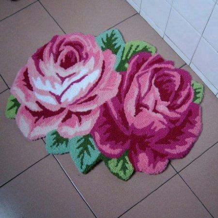 2 Rose Carpet Floor Mat Handmade Rug Anti-Slip Modern Carpet 60*70cm Kitchen Area Rugs,Flower Rug