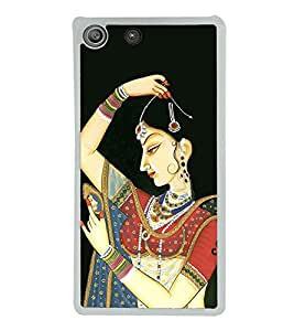 Rajasthani Girl Painting 2D Hard Polycarbonate Designer Back Case Cover for Sony Xperia M5 Dual :: Sony Xperia M5 E5633 E5643 E5663