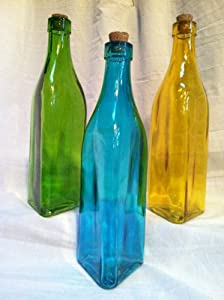 Colored glass bottles in green yellow for Colored glass bottles with corks